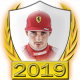 A collectable Charles Leclerc 2019 FF1GP driver fanbadge