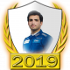 A collectable Carlos Sainz, Jr. 2019 FF1GP driver fanbadge