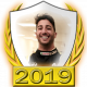 A collectable Daniel Ricciardo 2019 FF1GP driver fanbadge
