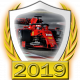 A collectable Ferrari 2019 FF1GP team fanbadge