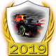 A collectable Red Bull-Honda 2019 FF1GP team fanbadge
