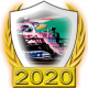 A collectable Racing Point-Mercedes 2020 FF1GP team fanbadge