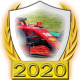 A collectable Ferrari 2020 FF1GP team fanbadge