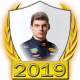 A collectable Max Verstappen 2019 FF1GP driver fanbadge
