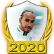A collectable Lewis Hamilton 2020 FF1GP driver fanbadge