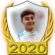 A collectable George Russell 2020 FF1GP driver fanbadge