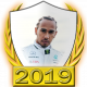 A collectable Lewis Hamilton 2019 FF1GP driver fanbadge