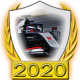 A collectable Haas-Ferrari 2020 FF1GP team fanbadge