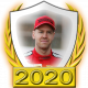 A collectable Sebastian Vettel 2020 FF1GP driver fanbadge